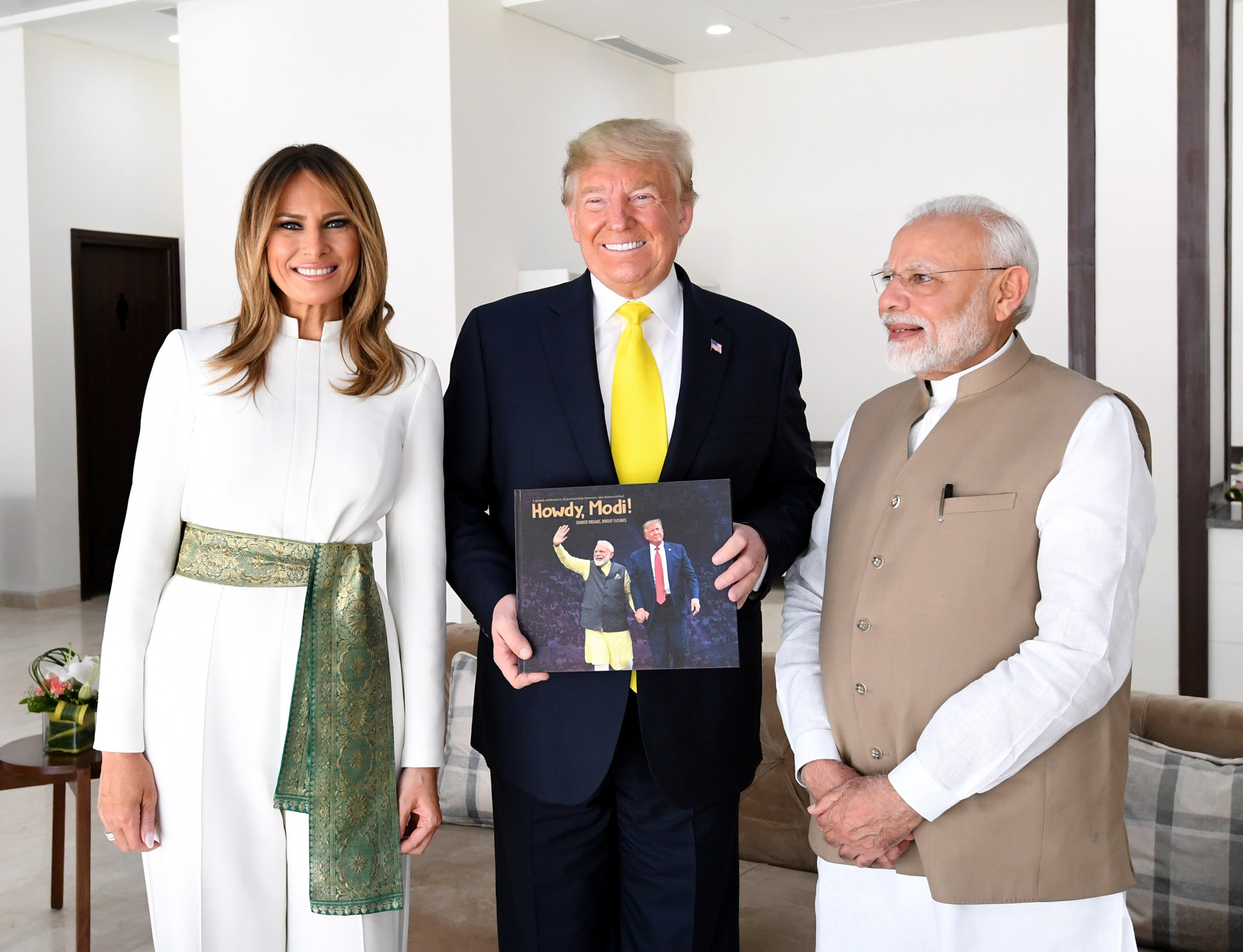 The Prime Minister, Shri Narendra Modi and the President of United States of America (USA), Mr. Donald Trump and First Lady Mrs. Melania Trump at Sabarmati Ashram, in Ahmedabad, Gujarat on February 24, 2020.