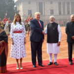 The President, Shri Ram Nath Kovind and the Prime Minister, Shri Narendra Modi welcomes the President of United States of America (USA), Mr. Donald Trump and First Lady Mrs. Melania Trump, at the Ceremonial Reception, at Rashtrapati Bhavan, in New Delhi on February 25, 2020.