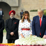 The President of United States of America (USA), Mr. Donald Trump and First Lady Mrs. Melania Trump paying homage at the Samadhi of Mahatma Gandhi, at Rajghat, in Delhi on February 25, 2020. The Minister of State for Housing & Urban Affairs, Civil Aviation (Independent Charge) and Commerce & Industry, Shri Hardeep Singh Puri is also seen.