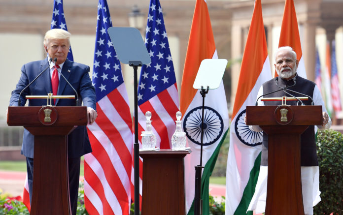 The Prime Minister, Shri Narendra Modi with the President of United States of America (USA), Mr. Donald Trump at the Joint Press Statements, at Hyderabad House, in New Delhi on February 25, 2020.