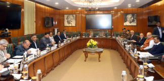 The Union Home Minister, Shri Amit Shah chairing a meeting in the wake of violence in Delhi, on February 25, 2020. The Lt. Governor of Delhi, Shri Anil Baijal, the Chief Minister of Delhi, Shri Arvind Kejriwal and other dignitaries are also seen.