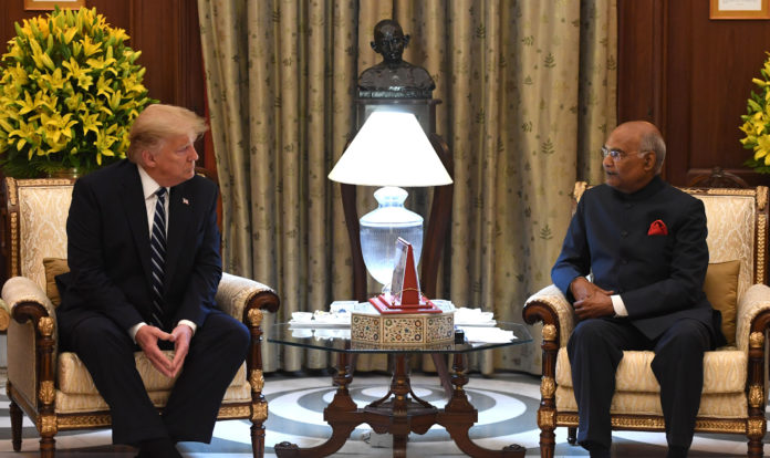 The President of United States of America (USA), Mr. Donald Trump calling on the President, Shri Ram Nath Kovind, at Rashtrapati Bhavan, in New Delhi on February 25, 2020.