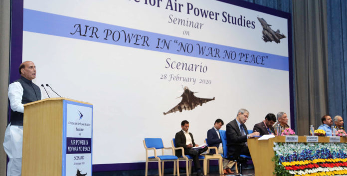 """The Union Minister for Defence, Shri Rajnath Singh addressing a Seminar on """"Air Power in 'No War No Peace' Scenario"""", in New Delhi on February 28, 2020. The Chief of Defence Staff (CDS), General Bipin Rawat, the Chief of Naval Staff, Admiral Karambir Singh, the Chief of the Air Staff, Air Chief Marshal R.K.S. Bhadauria, the Secretary, Department of Defence R&D and Chairman, DRDO, Dr. G. Satheesh Reddy and the DG, Centre for Air Power Studies, Air Marshal K.K. Nohwar (Retd.) are also seen."""