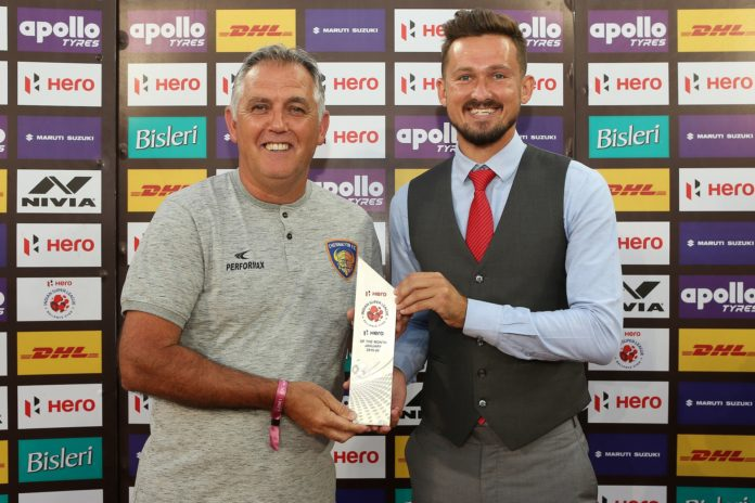 Nerijus Valskis of Chennaiyin FC is the HERO of the month for January 2020 during match 78 of the Indian Super League ( ISL ) between Chennaiyin FC and Bengaluru FC held at the Jawaharlal Nehru Stadium, Chennai, India on the 9th January 2020. Photo by: Ron Gaunt / SPORTZPICS for ISL