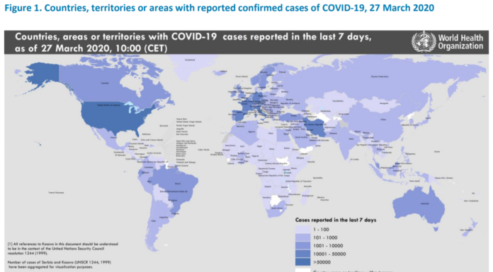 COVID-19 Report By WHO on 27 Mar 2020