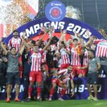 ATK players celebrates with the trophy after winning the finals of the Indian Super League ( ISL ) between ATK FC and Chennaiyin FC held at the Jawaharlal Nehru Stadium, Goa, India on the 14th March 2020. Photo by: Vipin Pawar / SPORTZPICS for ISL