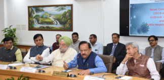 The Union Minister for Health & Family Welfare, Science & Technology and Earth Sciences, Dr. Harsh Vardhan chairing the Meeting of the group of Ministers (GoM) on COVID19, in New Delhi on March 04, 2020. The Union Minister for External Affairs, Dr. Subrahmanyam Jaishankar, the Minister of State for Housing & Urban Affairs, Civil Aviation (Independent Charge) and Commerce & Industry, Shri Hardeep Singh Puri, the Minister of State for Shipping (Independent Charge) and Chemicals & Fertilizers, Shri Mansukh L. Mandaviya and the Minister of State for Home Affairs, Shri Nityanand Rai are also seen.