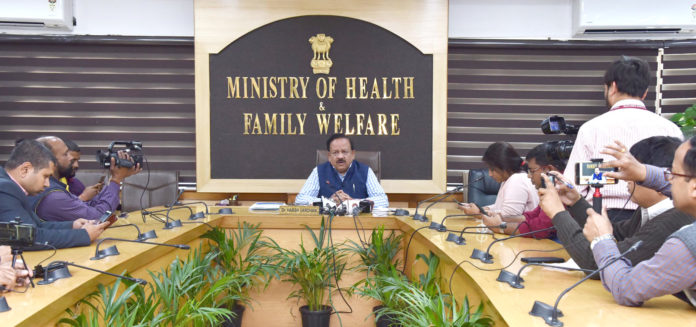 The Union Minister for Health & Family Welfare, Science & Technology and Earth Sciences, Dr. Harsh Vardhan briefing the media after the review and coordination meeting on COVID-19, in New Delhi on March 09, 2020.