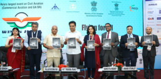 "The Minister for IT E&C, MA&UD and Industries & Commerce Departments, Telangana, Shri K.T. Rama Rao and other dignitaries at the launch of the ""Wings India 2020"", flagship event of Civil Aviation, in Hyderabad, Telangana on March 13, 2020."