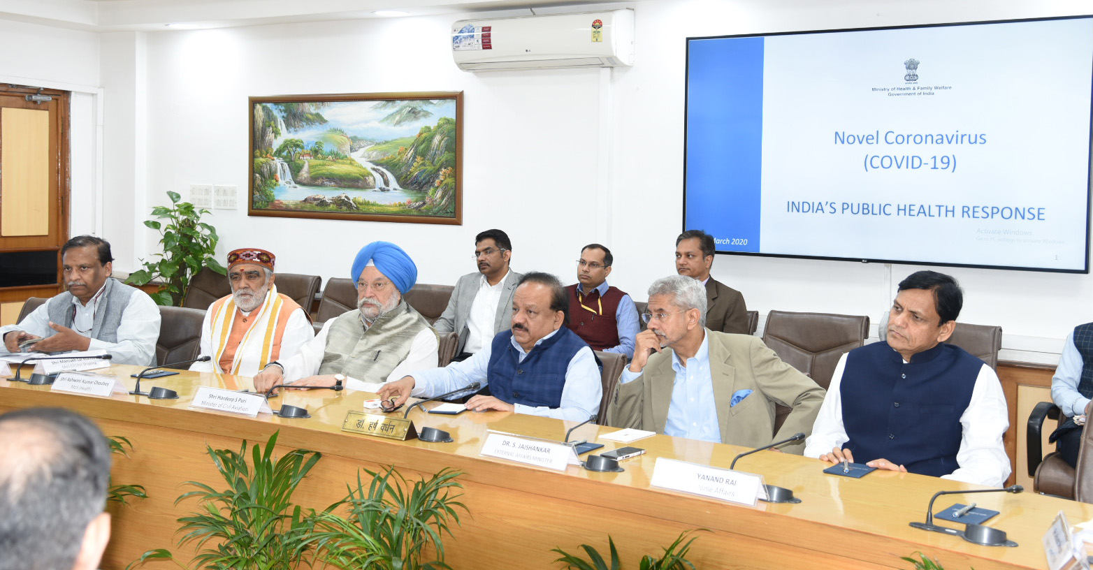 The Union Minister for Health & Family Welfare, Science & Technology and Earth Sciences, Dr. Harsh Vardhan chairing a high level meeting of the Group of Ministers (GoM) to discuss emerging International & National situation of Novel Coronavirus Disease (COVID-19) and to take appropriate measures, in New Delhi on March 16, 2020.
