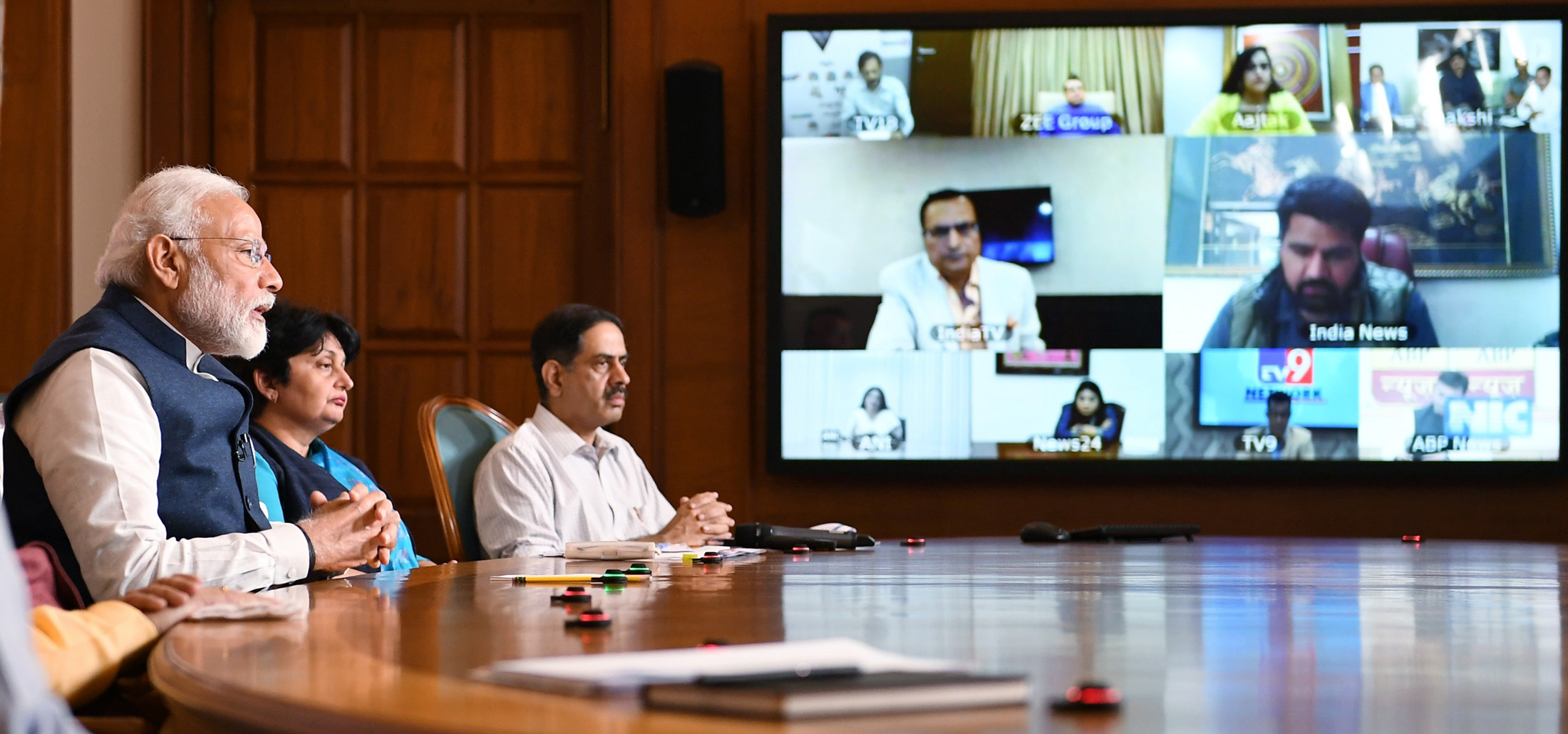The Prime Minister, Shri Narendra Modi interacting with the key stakeholders from Electronic Media Channels through video conference to discuss the emerging challenges in light of the spread of COVID-19, in New Delhi on March 23, 2020.