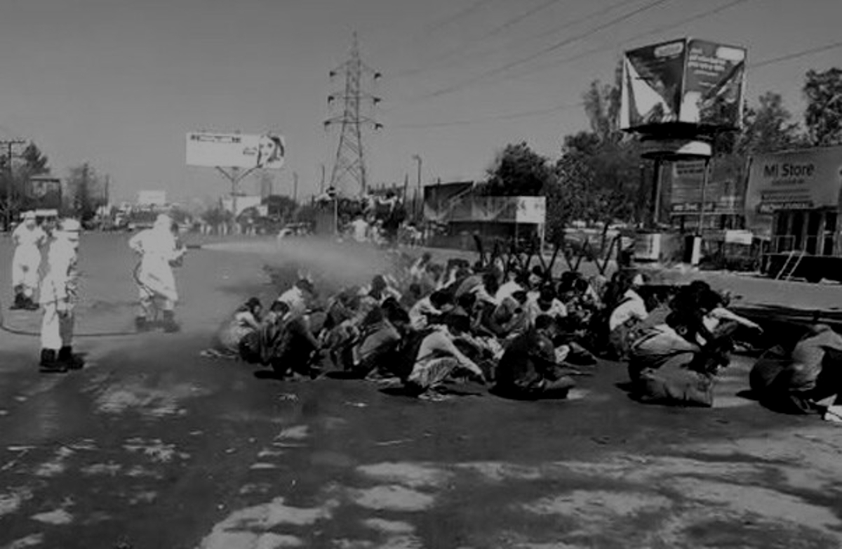 Migrant Labours in UP during COVID-19 Disinfectant Spray