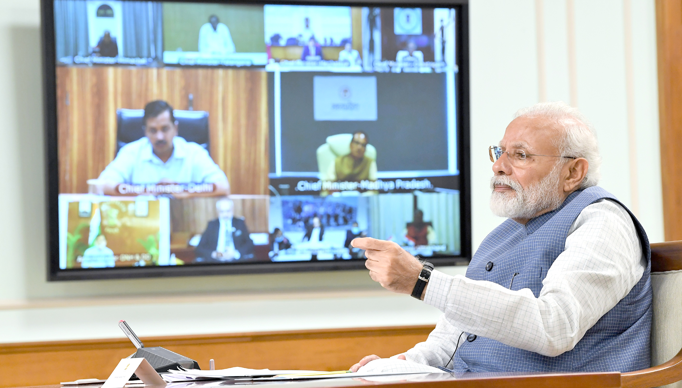 The Prime Minister, Shri Narendra Modi interacting with the Chief Ministers of States via video conferencing to discuss measures to combat COVID-19, in New Delhi on April 02, 2020.