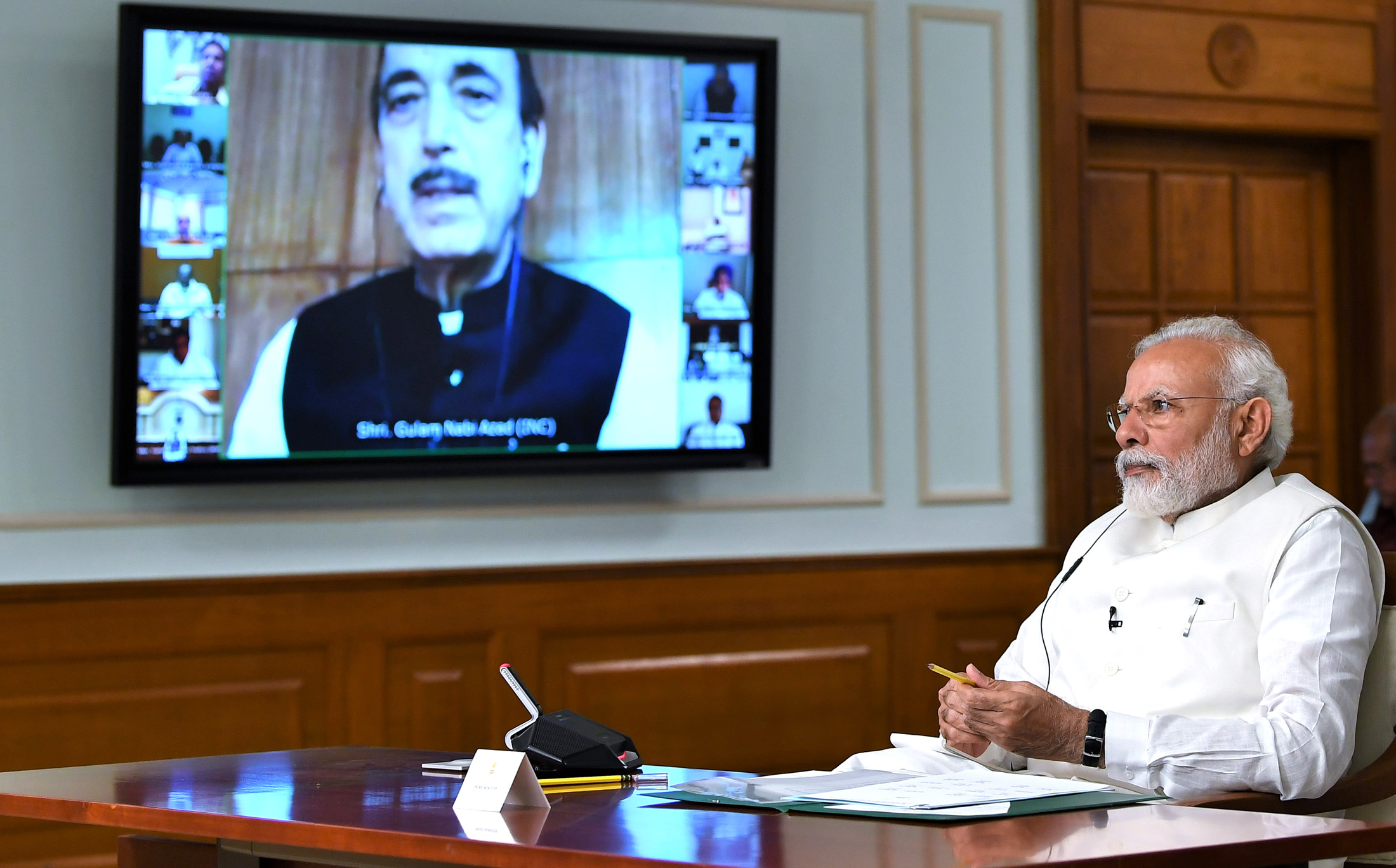 The Prime Minister, Shri Narendra Modi interacting with the leaders of political parties in Parliament on COVID-19 via video conference, in New Delhi on April 08, 2020.