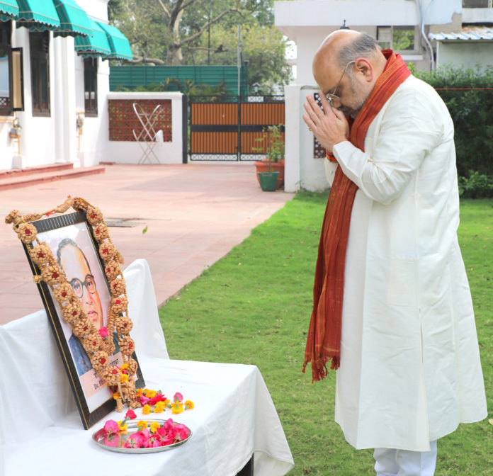 The Union Home Minister, Shri Amit Shah paying tributes to Babasaheb Dr. B.R. Ambedkar on the occasion of his birth anniversary, in New Delhi on April 14, 2020.