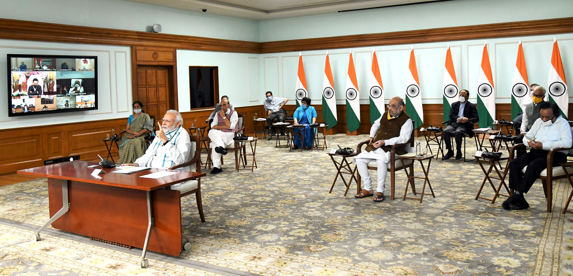 The Prime Minister, Shri Narendra Modi interacting with the Chief Ministers of states via video conferencing to discuss the emerging situation and plan ahead for tackling the COVID-19 pandemic, in New Delhi on April 27, 2020.