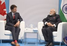 The Prime Minister, Shri Narendra Modi meeting the Prime Minister of Canada, Mr. Justin Trudeau, on the sidelines of the 12th G-20 Summit, at Hamburg, Germany on July 07, 2017
