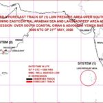 A Low pressure area has formed over southeast and adjoining eastcentral Arabian Sea and Lakshadweep area