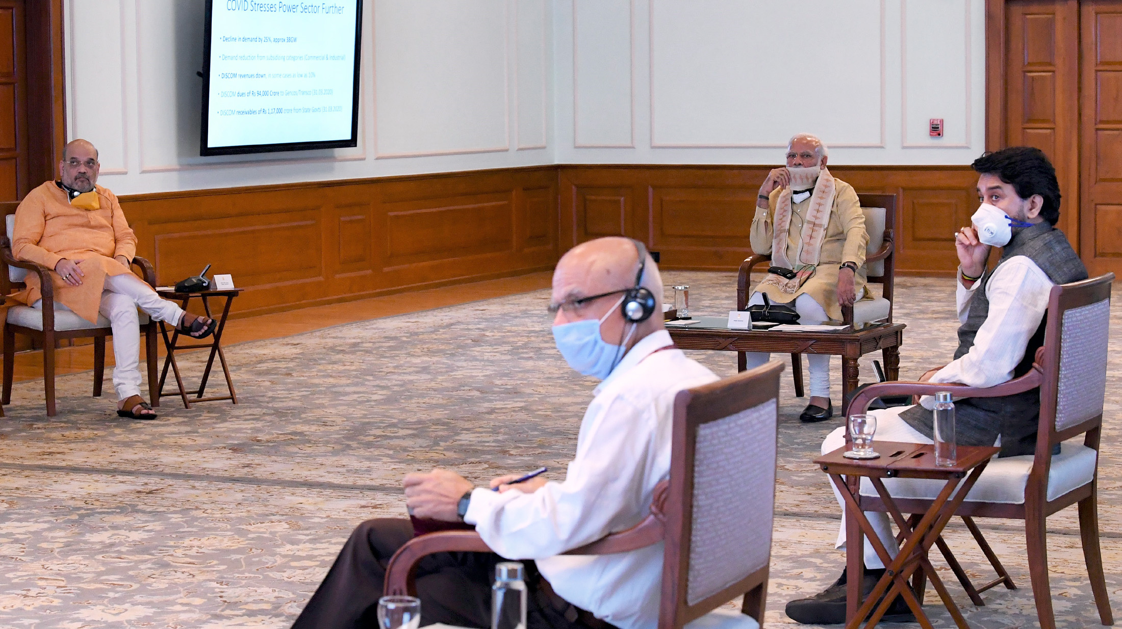 The Prime Minister, Shri Narendra Modi holding a meeting to review Power Sector and takes stock of the impact of COVID-19, in New Delhi on May 01, 2020.
