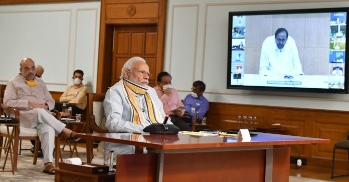 The Prime Minister, Shri Narendra Modi holds 5th meeting with the State Chief Ministers via video conferencing on COVID-19 situation, in New Delhi on May 11, 2020.