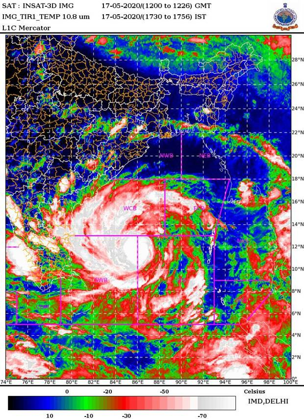 Tracking Severe Cyclonic Storm 'AMPHAN' (at 2030 Hrs IST)