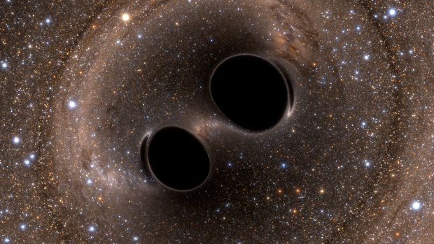 Black hole collision and merger releasing gravitational waves