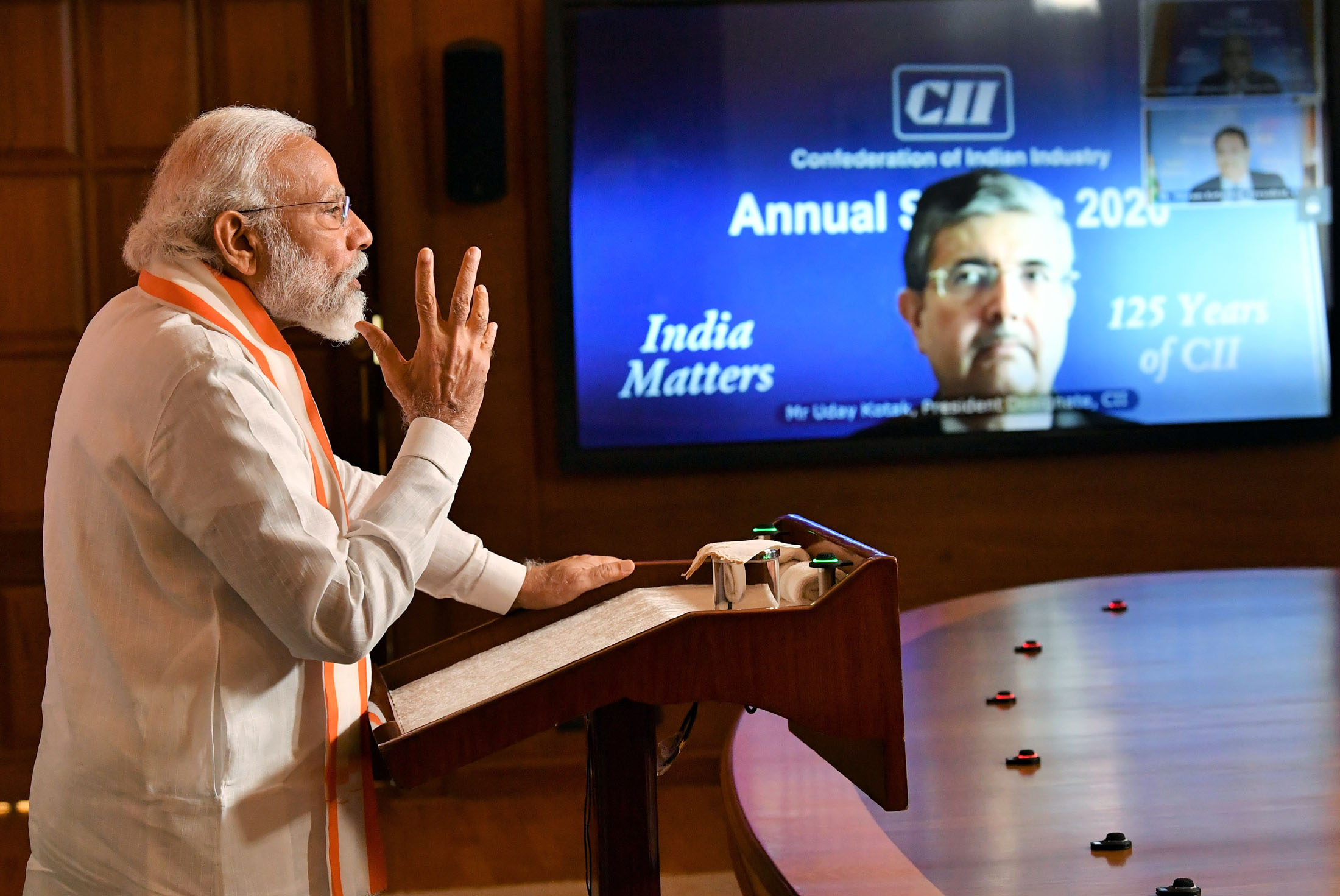 The Prime Minister, Shri Narendra Modi addressing the CII Annual Session - 2020 via video conferencing, in New Delhi on June 02, 2020.