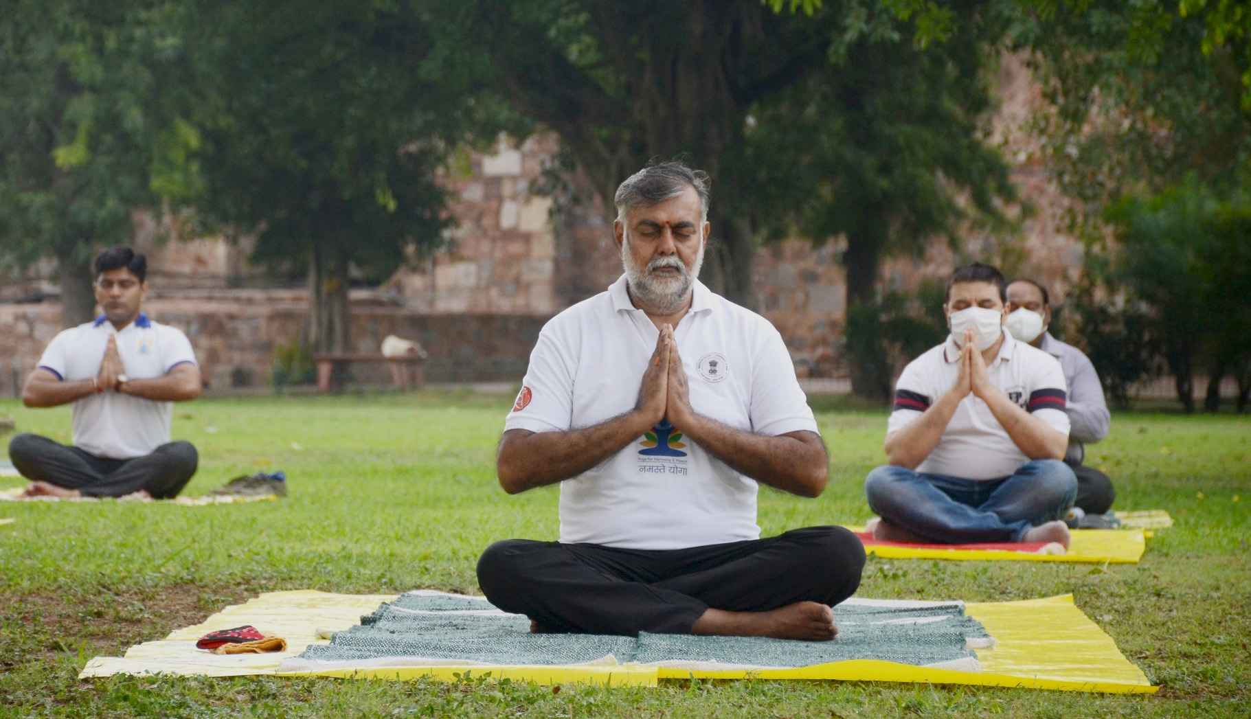 The Minister of State for Culture and Tourism (Independent Charge), Shri Prahlad Singh Patel performing Yoga, on the occasion of the 6th International Day of Yoga 2020, at Purana Qila, in New Delhi on June 21, 2020.