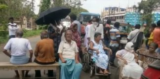 Senior Citizens Block Road for Water and Electricity