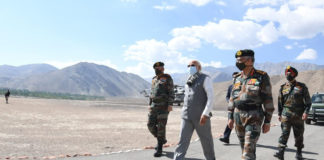 The Prime Minister, Shri Narendra Modi visits Leh, Ladakh on July 03, 2020.