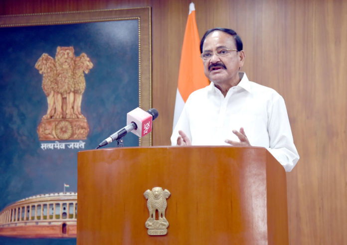 The Vice President, Shri M. Venkaiah Naidu addressing the gathering through video conferencing after releasing the indigenous social media super app – Elyments, in New Delhi on July 05, 2020.