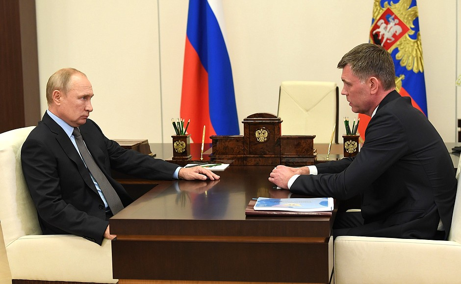 President Putin Meeting with Director of the Federal Bailiff Service (FBS), Chief Bailiff of the Russian Federation Dmitry Aristov.