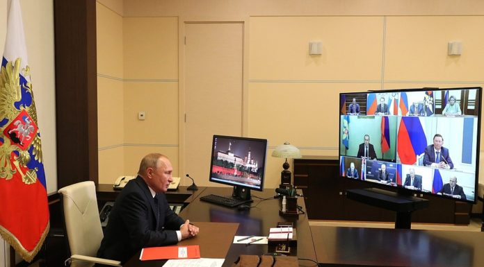 Russian President Vladimir Putin Meeting with permanent members of the Security Council (via videoconference).