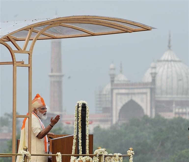 The Prime Minister, Shri Narendra Modi addressing the Nation on the occasion of 74th Independence Day from the ramparts of Red Fort, in Delhi on August 15, 2020.