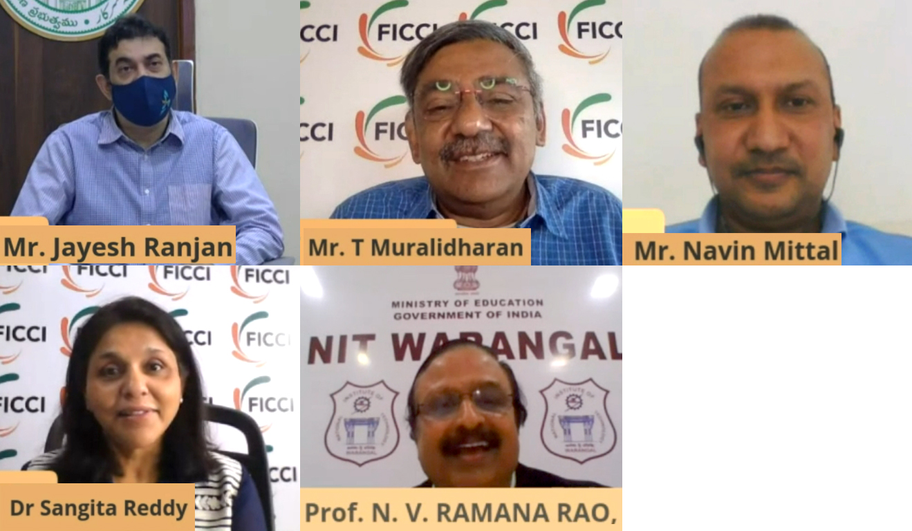 Mr. Jayesh Ranjan, Principal Secretary, Industries & Commerce,IT Dept, Govt. of Telangana; Naveen Mittal, Commissioner, Collegiate Education Govt. of Telangana; Dr. Sangita Reddy, President,FICCI; Dr. N V Ramana Rao
