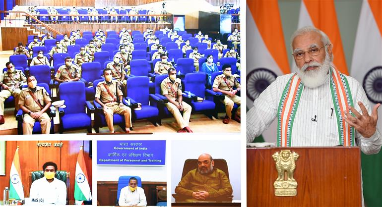 The Prime Minister, Shri Narendra Modi interacting with the IPS Probationers during Dikshant Parade at Sardar Vallabhbhai Patel National Police Academy, through video conferencing, in New Delhi on September 04, 2020.