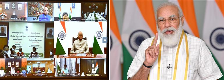 The Prime Minister, Shri Narendra Modi addressing the inaugural session of the Governors' Conference on National Education Policy, through video conferencing, in New Delhi on September 07, 2020.