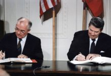 Reagan and Gorbachev signing - Intermediate-Range Nuclear Forces Treaty