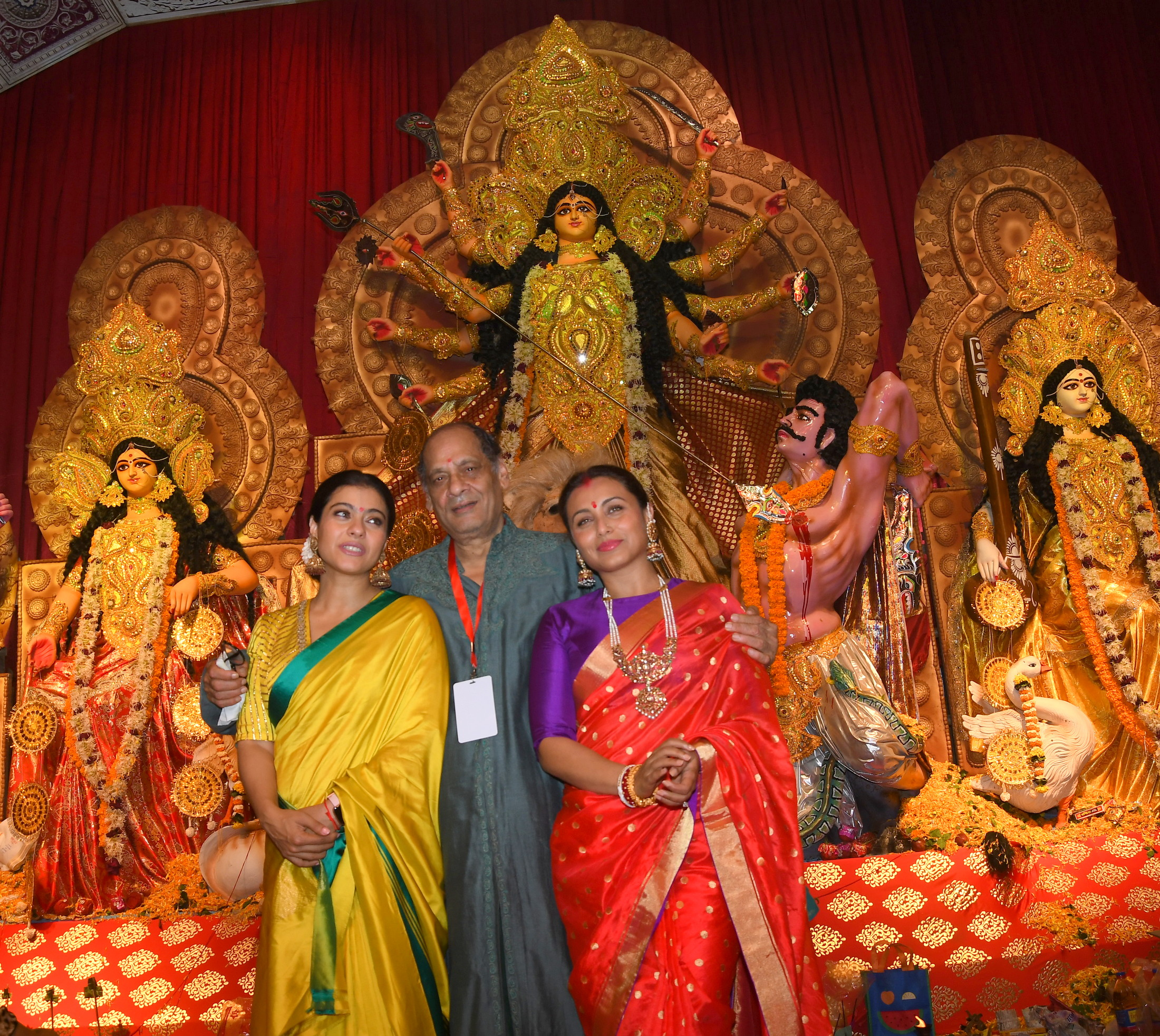 Kajol Devgan with Debu Mukherjee and Rani Mukherjee at North Bombay Sarbojanin Durga Puja Samiti's DURGA PUJA 2019 DSC_0105