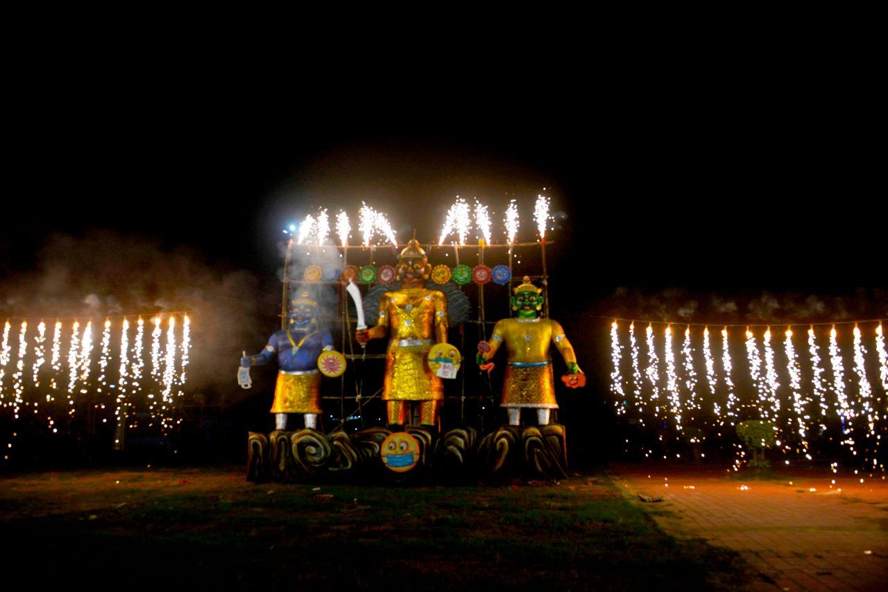 20-feet-tall Ravana effigy burnt on Dussehra by Salt Lake Sanskritik Sansad & Sanmarg at Central Park(Salt Lake), Kolkata