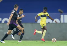 Liston Colaca of Hyderabad FC in action during match 4 of the 7th season of the Hero Indian Super League between Odisha FC and Hyderabad FC held at the GMC Stadium, Bambolim, Goa, India on the 23rd November 2020 Photo by Faheem Hussain / Sportzpics for ISL