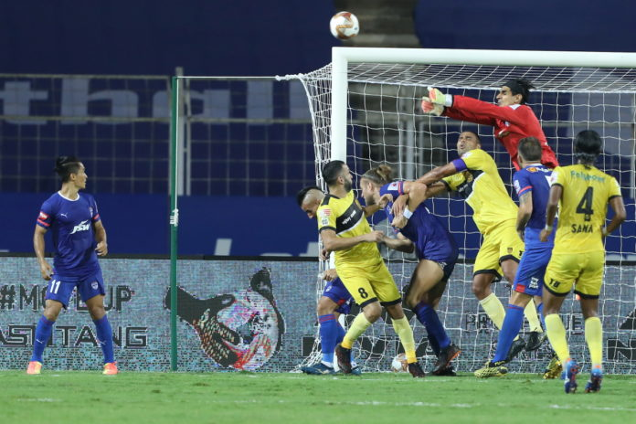 Gurpreet Singh Sandhu goalkeeper of Bengaluru FC trying to save goal during match 9 of the 7th season of the Hero Indian Super League between Bengaluru FC and Hyderabad FC held at the Fatorda Stadium, Goa, India on the 28th November 2020 Photo by Arjun Singh / Sportzpics for ISL