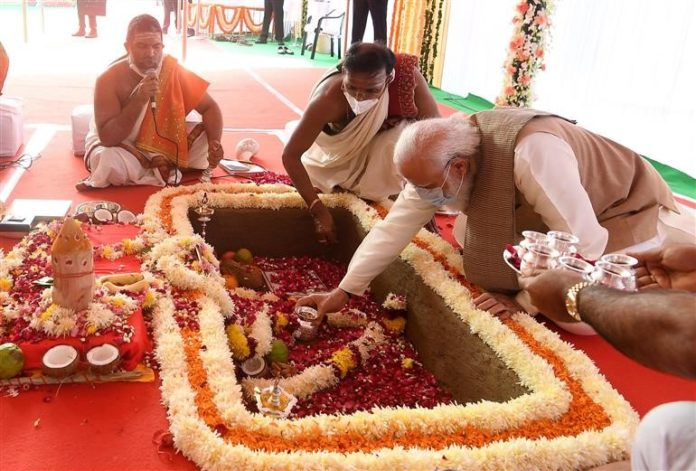The Prime Minister, Shri Narendra Modi performing Bhoomi Pujan at the foundation stone laying ceremony of the New Parliament Building, at Sansad Marg, in New Delhi on December 10, 2020.