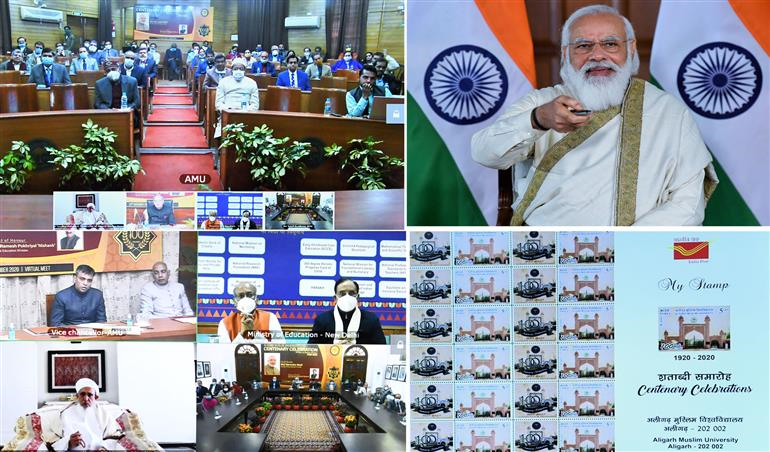 The Prime Minister, Shri Narendra Modi releases a postal stamp commemorating the Centenary Celebrations of Aligarh Muslim University (AMU), through video conference, in New Delhi on December 22, 2020.