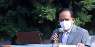 The Union Minister for Health & Family Welfare, Science & Technology and Earth Sciences, Dr. Harsh Vardhan addressing at the official attempt of Guinness World Records for 'Most People Assembling Sundail kit Simultaneously Online', during the India International Science Festival-2020, in New Delhi on December 22, 2020.