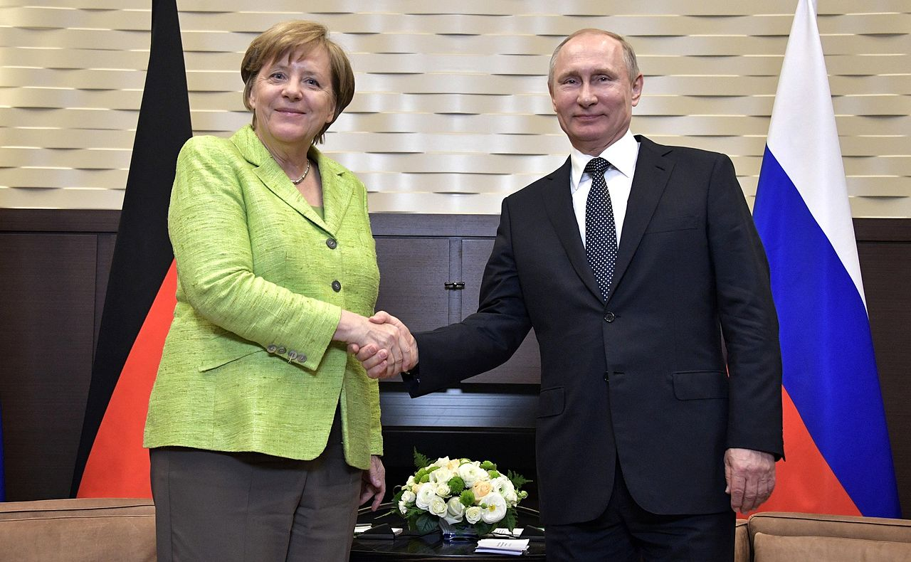 Russian President Vladimir Putin and Federal Chancellor of the Federal Republic of Germany Angela Merkel