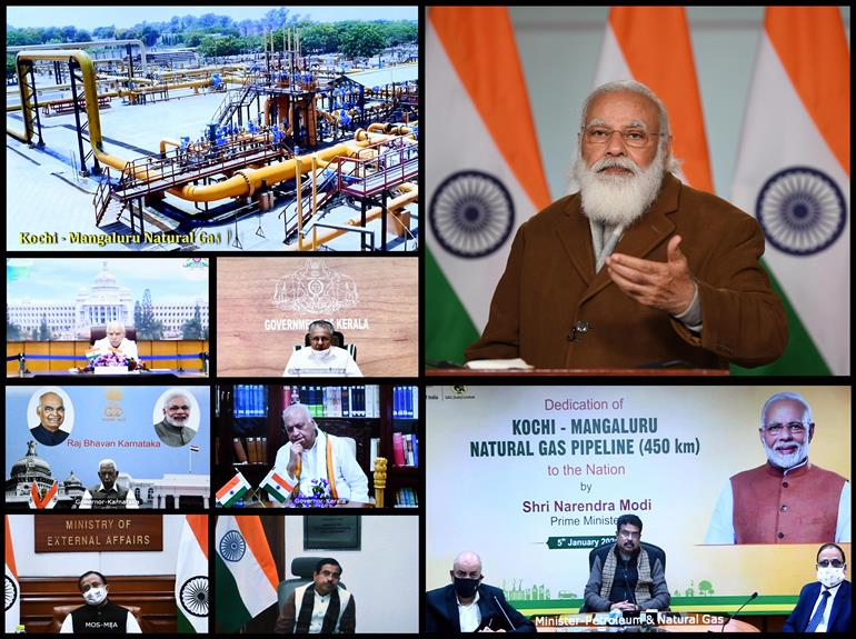 The Prime Minister, Shri Narendra Modi addressing at the dedication of the Kochi - Mangaluru Natural Gas Pipeline to the Nation, through video conferencing, in New Delhi on January 05, 2021.