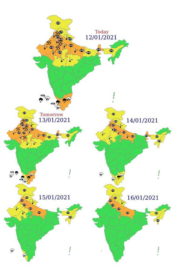 Isolated heavy to very heavy rainfall very likely over Tamil Nadu, Puducherry & Karaikal and over Kerala & Mahe