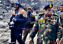 The DG, BRO, Lt. Gen. Rajeev Chaudhry visits Joshimath to take stock of damages due to Glacial lake outburst flood (GLOF), in Chamoli district, Uttarakhand on February 13, 2021.