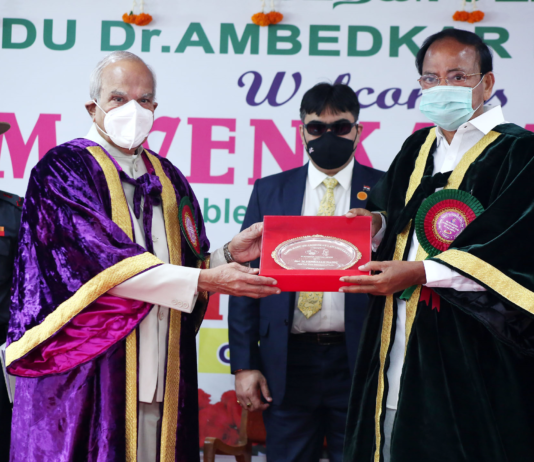 The Vice President, Shri M. Venkaiah Naidu at the 11th Convocation of the Tamil Nadu Dr. Ambedkar Law University, in Chennai, Tamil Nadu on February 27, 2021. The Governor of Tamil Nadu, Shri Banwarilal Purohit is also seen.